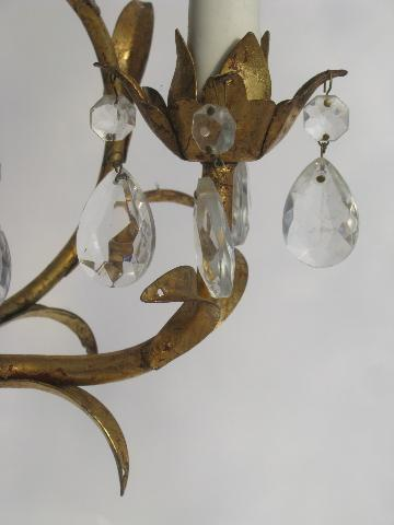 vintage Italian tole candle chandelier wall sconce light, gilt metal w/ glass prisms