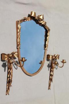 vintage Italian tole gold metal framed mirror & candle sconces wall sconce set
