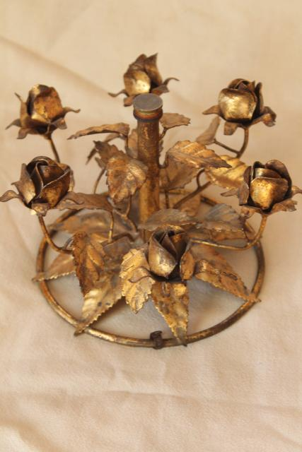 vintage Italian tole gold wrought metal roses, Florentine style base for frame or cake stand