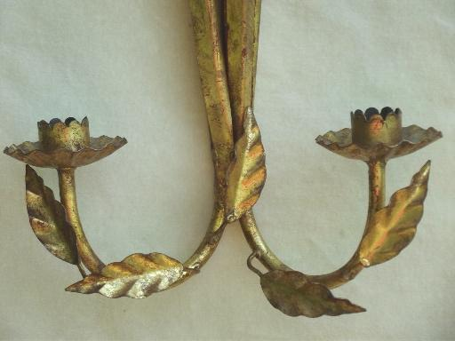 vintage Italian tole wall sconces, gilt sheaves of wheat candle sconce set