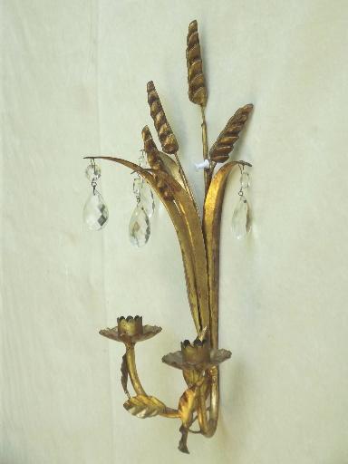 Italian Candle Wall Sconces : vintage Italian tole wall sconces, gilt sheaves of wheat candle sconce set