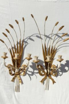 vintage Italian tole wall sconces, huge wheat sheaves w/ Florentine gold wood candle holders