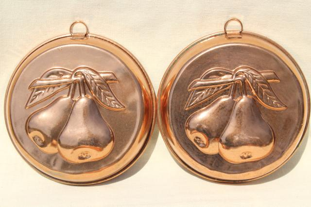 Vintage Italy Copper Plated Molds Or Baking Tins W Fruit