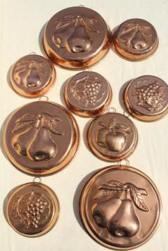 vintage Italy copper plated molds or baking tins w/ fruit designs, kitchen wall hanging decor