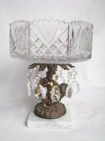 Vintage Italy Crystal Pedestal Bowl Ornate Gold Cherub