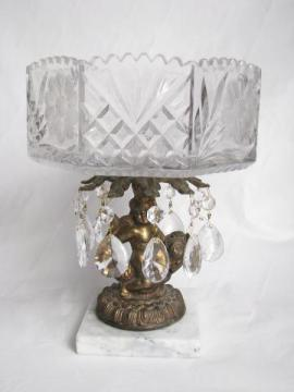 vintage Italy, crystal pedestal bowl, ornate gold cherub marble base, glass teardrop prisms