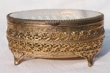 vintage Italy gold metal filigree jewelry box, large oval box for vanity dressing table