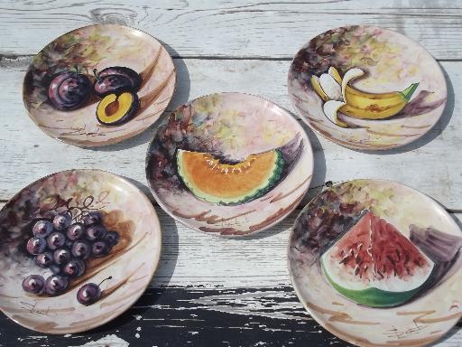 Vintage Hand Painted Fruit Plates Italian