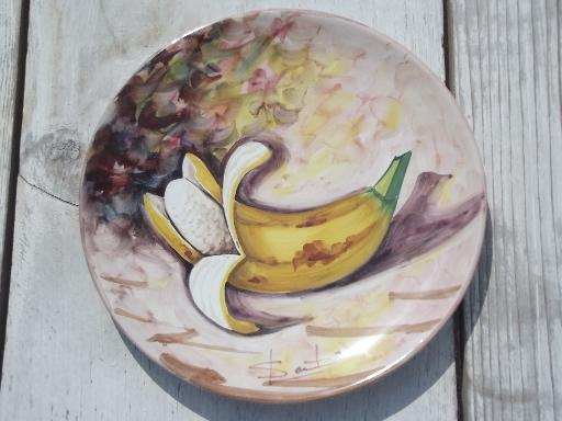 Vintage Italy Hand Painted Pottery Plates Italian Peasant