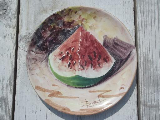 vintage Italy hand-painted pottery plates, Italian peasant village fruit