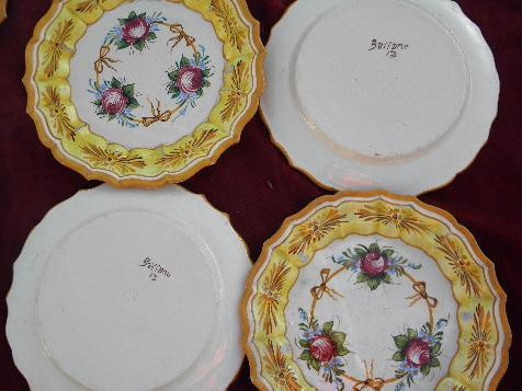 Vintage Italy Large Set Pottery Plates Hand Painted