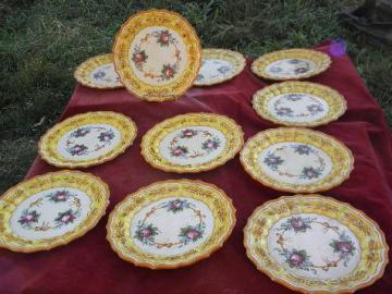 vintage Italy, large set pottery plates, hand-painted Italian ceramic, bright flowers