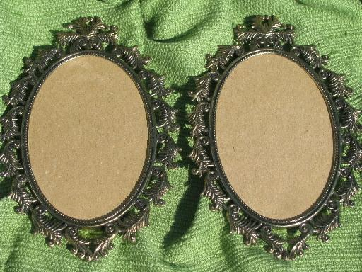 vintage Italy mantlepiece garniture, portrait frames and candlesticks