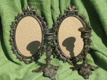 vintage Italy mantlepiece garniture, portrait frames and candlesticks