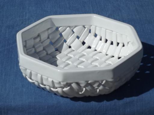 Vintage Italy Woven Ceramic Basket Basketweave Bowl Or
