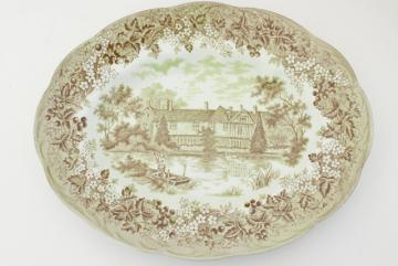 vintage J&G Meakin Romantic England scenic English country transferware serving platter