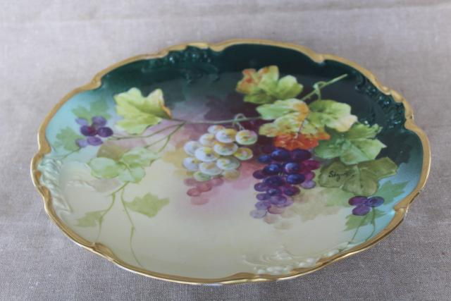 vintage JPL mark Pouyat Limoges France china charger plate hand painted signed Segun