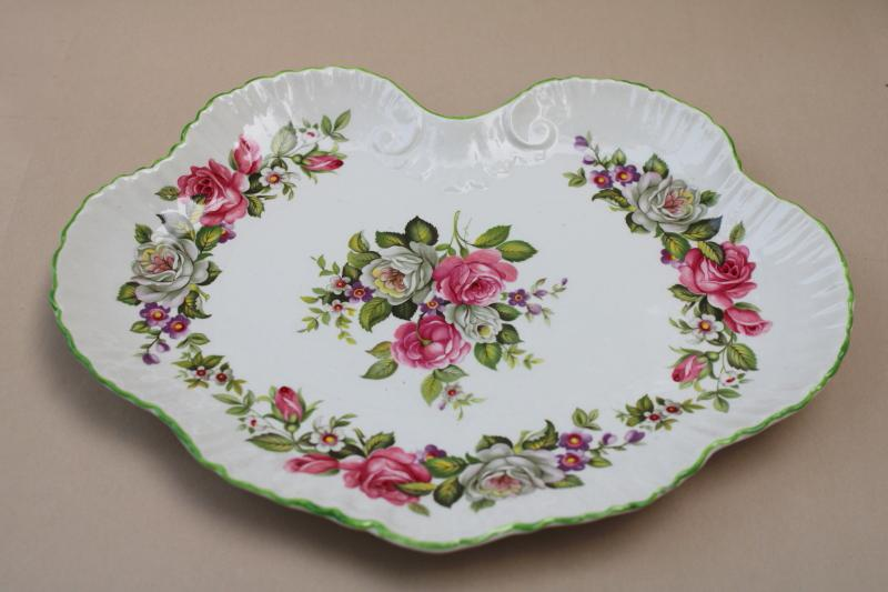 vintage James Kent Old Foley scalloped tray, Harmony Rose pattern roses floral