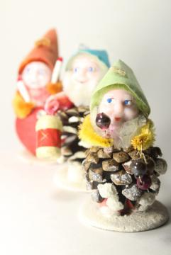 vintage Japan Christmas elf pine cone gnomes, spun cotton / chenille holiday ornaments