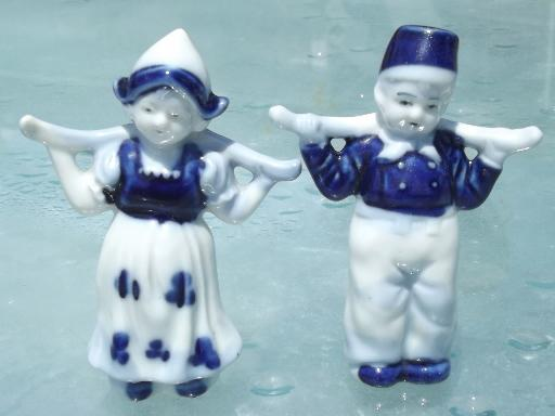 vintage Japan 'Delft', blue and white china Dutch boy and girl figurines