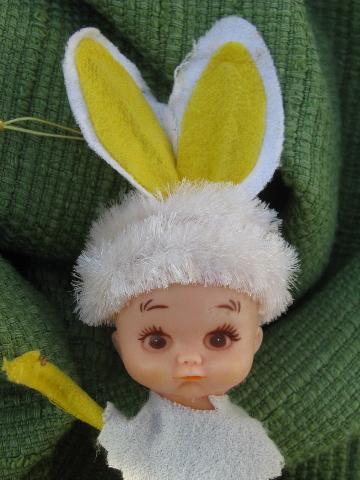 vintage Japan Easter rabbit Pixie girl ornament doll w/ bunny ears