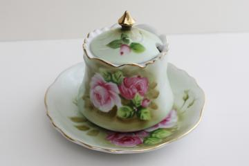 vintage Japan Lefton china Heritage green w/ pink roses jam pot & plate