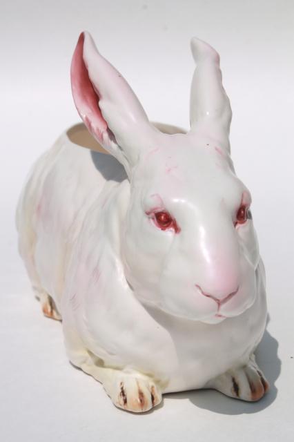 Vintage Japan Lefton China White Rabbit Planter Pot Large