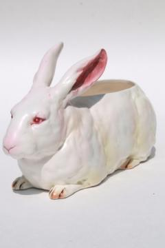 vintage Japan Lefton china white rabbit planter pot, large life size bunny