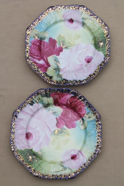 vintage Japan Nippon style hand-painted porcelain plates, tea roses china edged in cobalt blue