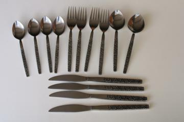 vintage Japan Oneida Northland stainless flatware embossed pansies floral OHS46