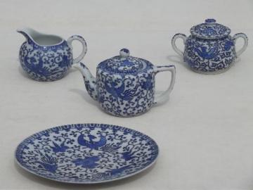 vintage Japan  Phoenix ware blue & white china tea set, teapot, cream & sugar