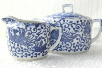 vintage Japan blue & white china cream pitcher & sugar bowl set Phoenix ware birds pattern