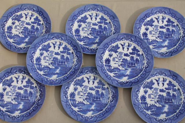Vintage An Blue Willow China Set Of 8 Dinner Plates Anese Ware