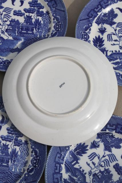 Vintage Japan Blue Willow China Set Of 8 Dinner Plates