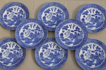 vintage Japan blue willow china set of 8 dinner plates, Japanese willow ware