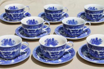 vintage Japan blue willow china teacups for 8, tea party cup and saucer sets