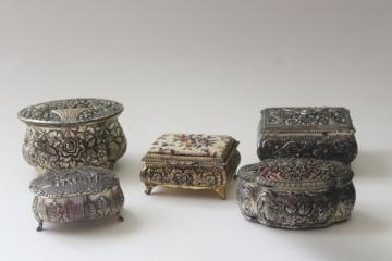 vintage Japan cast metal jewelry boxes, velvet lined trinket box collection