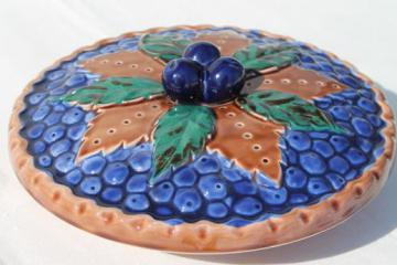 vintage Japan ceramic blue berry pie keeper, pie pan dish w/ fruit pie cover