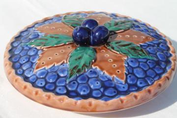 vintage Japan ceramic blue berry pie keeper, pie pan dish w/ fruit pie cover