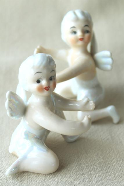 Vintage Japan Ceramic Candle Huggers Little Girl Pixie
