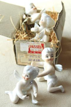 vintage Japan ceramic candle huggers, little girl pixie angels w/ white hair & wings