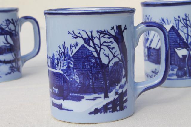 An Ceramic Coffee Mugs Blue White Currier Ives Mug Set