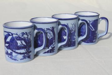 vintage Japan ceramic coffee mugs, blue & white Currier & Ives mug set