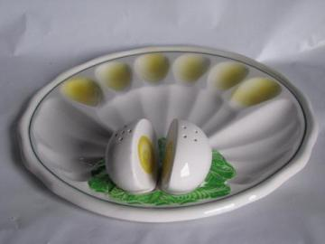 vintage Japan ceramic deviled egg plate, eggs S&P shakers