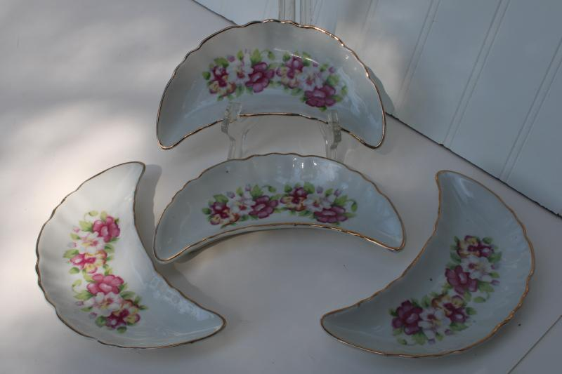vintage Japan china bone dishes, crescent shape side plates w/ pansies floral