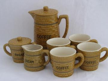 vintage Japan china coffee set, basket weave coffeepot, mugs, cream & sugar