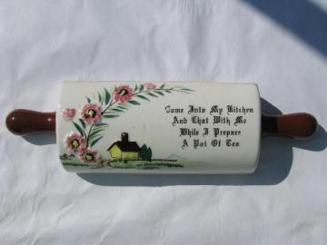 vintage Japan china kitchen wall pocket vase, cute rolling pin w/ motto