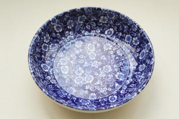 vintage Japan chintz china bowl, cobalt blue and white calico floral pattern
