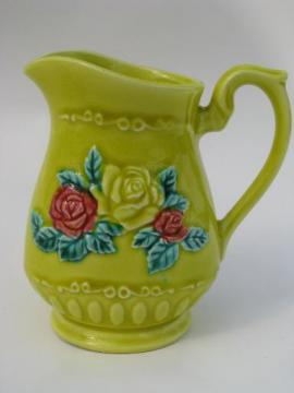 vintage Japan cream pitcher, majolica style flowers on chartreuse yellow