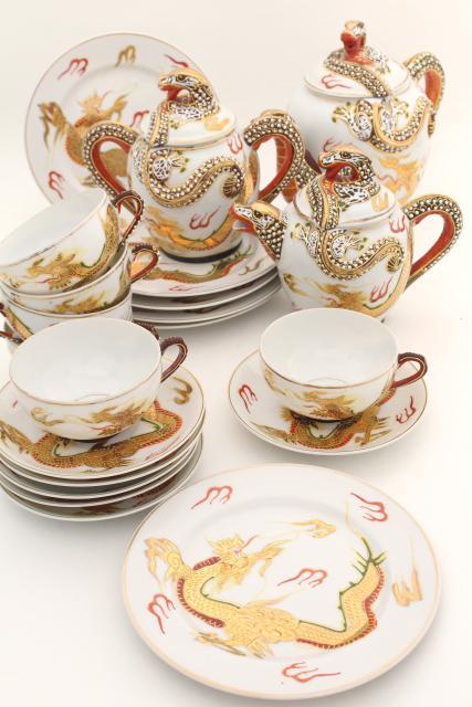 vintage Japan dragonware china tea set lithophane porcelain cups plates dragon teapot & vintage Japan dragonware china tea set lithophane porcelain cups ...
